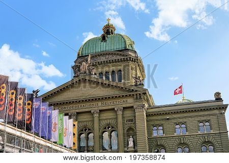 Facade Of Federal Palace Of Switzerland Towers And Flag Bern