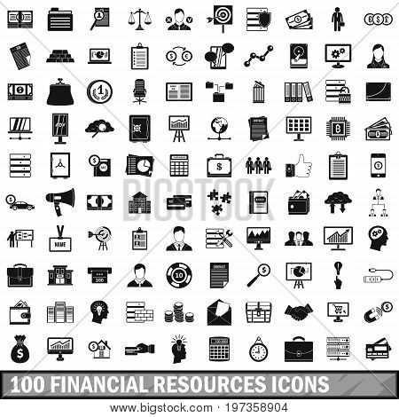 100 financial resources icons set in simple style for any design vector illustration