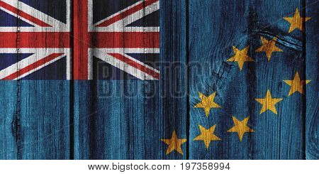 Tuvalu Flag Painted On Wooden Wall For Background