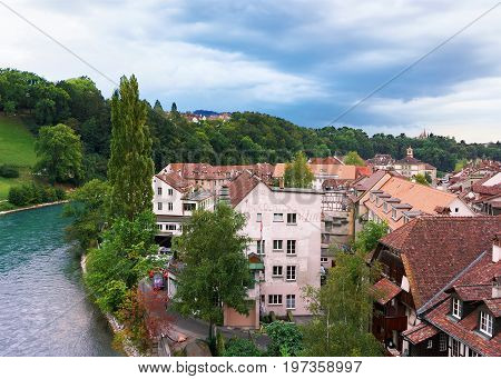 Bern City Landscape With Aare River And House Swiss