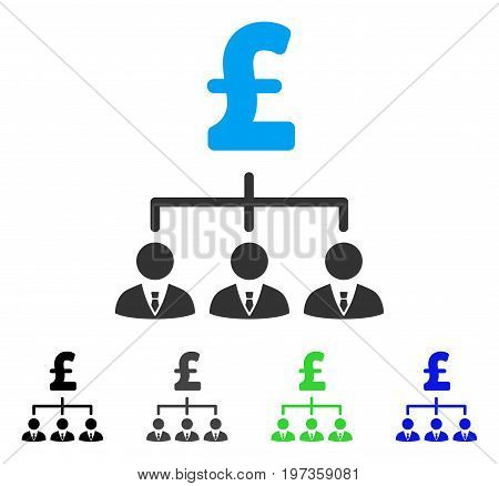 Pound Banker Links flat vector pictograph. Colored pound banker links gray, black, blue, green icon versions. Flat icon style for application design.