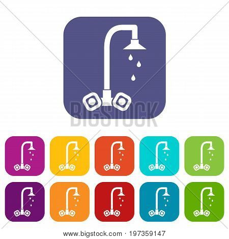 Dripping tap icons set vector illustration in flat style in colors red, blue, green, and other