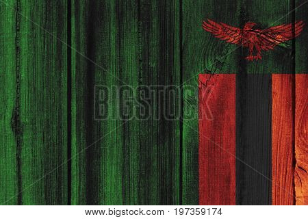 Zambia Flag Painted On Wooden Wall For Background