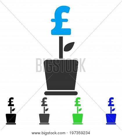 Pound Business Project Plant flat vector pictograph. Colored pound business project plant gray, black, blue, green pictogram variants. Flat icon style for graphic design.