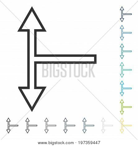 Bifurcation Arrow Up Down icon. Vector illustration style is flat iconic symbol in some color versions.