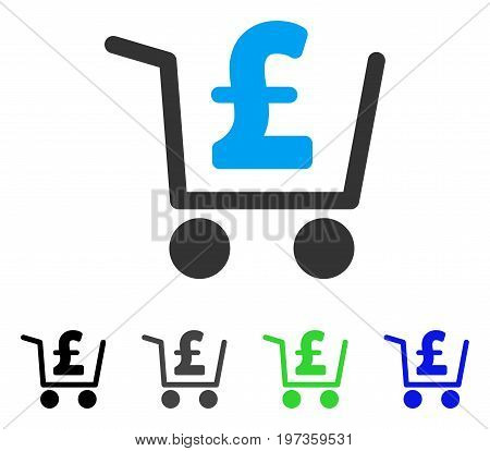 Pound Checkout flat vector illustration. Colored pound checkout gray, black, blue, green pictogram variants. Flat icon style for application design.