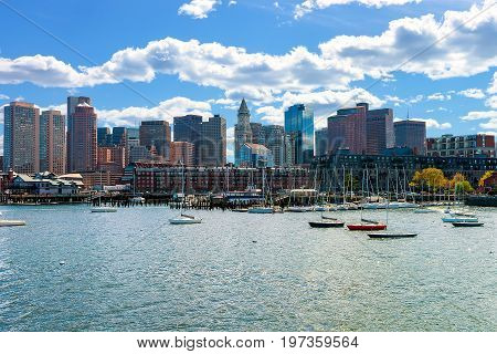 Floating Boats With The Skyline Boston Ma America