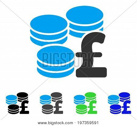 Pound Coins flat vector pictograph. Colored pound coins gray, black, blue, green icon versions. Flat icon style for graphic design.
