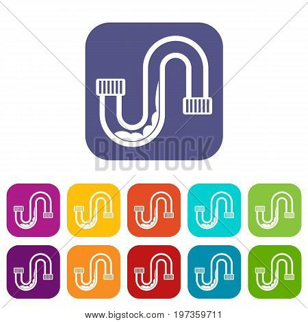 Clog in the pipe icons set vector illustration in flat style in colors red, blue, green, and other