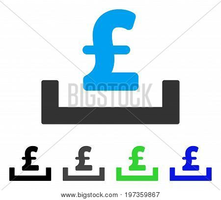 Pound Deposit Placement flat vector illustration. Colored pound deposit placement gray, black, blue, green pictogram versions. Flat icon style for web design.