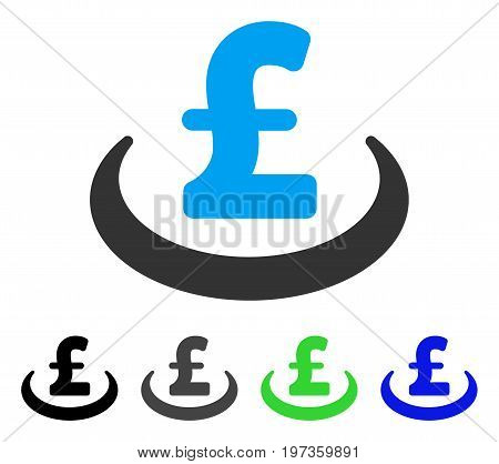 Pound Deposit Placement flat vector pictogram. Colored pound deposit placement gray, black, blue, green pictogram variants. Flat icon style for application design.