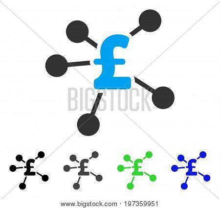 Pound Distribution flat vector pictograph. Colored pound distribution gray, black, blue, green icon variants. Flat icon style for web design.