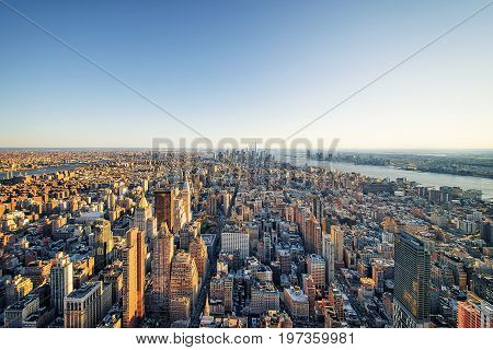 Aerial View To Skyline In Downtown Lower Manhattan Nyc America
