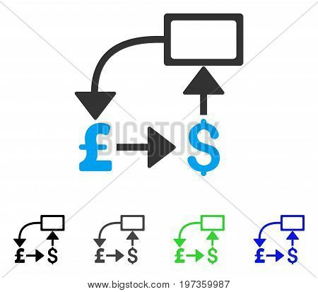 Pound Dollar Flow Chart flat vector pictogram. Colored pound dollar flow chart gray, black, blue, green pictogram versions. Flat icon style for web design.