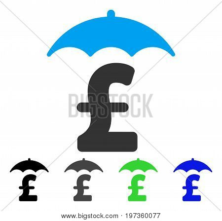 Pound Finances Roof flat vector pictograph. Colored pound finances roof gray, black, blue, green pictogram versions. Flat icon style for web design.