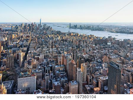 Aerial View On Skyline In Downtown Lower Manhattan Ny America