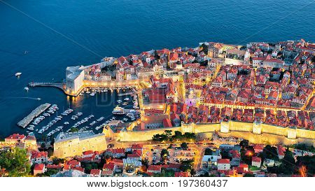 Evening View Of Dubrovnik Old Town And Adriatic Sea Croatia
