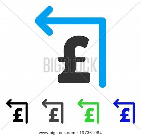 Pound Moneyback flat vector pictogram. Colored pound moneyback gray, black, blue, green icon versions. Flat icon style for web design.
