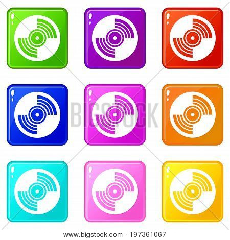Gramophone vinyl LP record icons of 9 color set isolated vector illustration