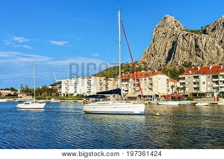 Boats And Harbor In Adriatic Sea In Omis Croatia