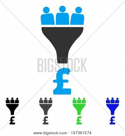 Pound Sales Funnel flat vector pictograph. Colored pound sales funnel gray, black, blue, green icon versions. Flat icon style for graphic design.