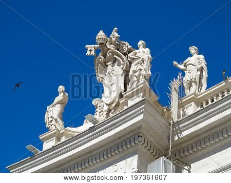 19.06.2017 Vatican City: Statues and architectural details on Saint Peter square in Vatican Roma Italy