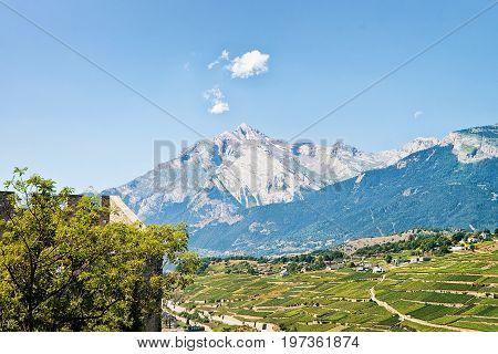 Tourbillon Castle With Landscape Of Sion Capital Valais Switzerland