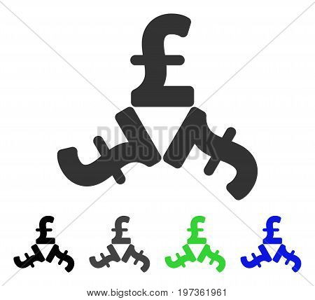 Pound Trinity flat vector pictogram. Colored pound trinity gray, black, blue, green icon versions. Flat icon style for graphic design.