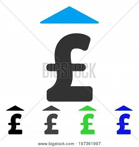 Pound Up flat vector illustration. Colored pound up gray, black, blue, green icon versions. Flat icon style for graphic design.