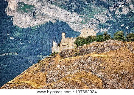 Tourbillon Castle And Landscape In Sion Capital Valais Switzerland