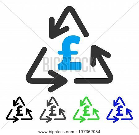 Recycling Pound Cost flat vector pictogram. Colored recycling pound cost gray, black, blue, green icon variants. Flat icon style for graphic design.