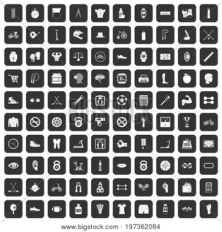 100 kettlebell icons set in black color isolated vector illustration
