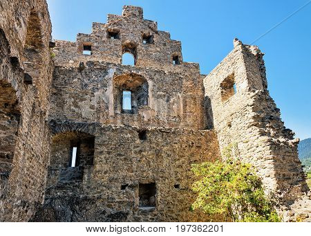 Ruins Of Tourbillon Castle In Sion Capital Valais Switzerland