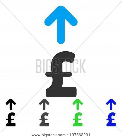 Send Pound flat vector pictograph. Colored send pound gray, black, blue, green icon versions. Flat icon style for web design.