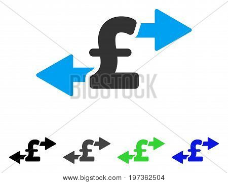 Spend Pound Money flat vector illustration. Colored spend pound money gray, black, blue, green icon variants. Flat icon style for web design.