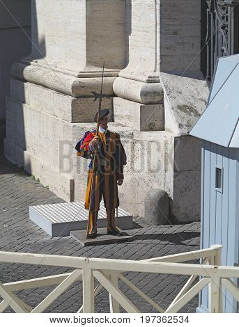 19.06.2017 Vatican city Roma Italy: Pontifical Swiss Guard at the post.