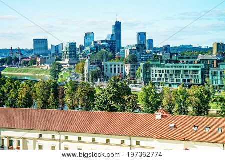 Financial District With Skyscrapers And Arsenal In Vilnius Baltic