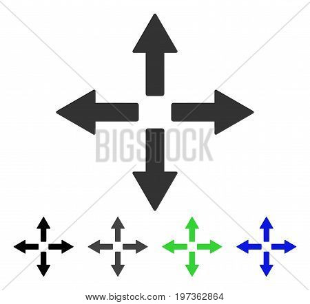 Expand Arrows flat vector illustration. Colored expand arrows gray, black, blue, green icon versions. Flat icon style for graphic design.
