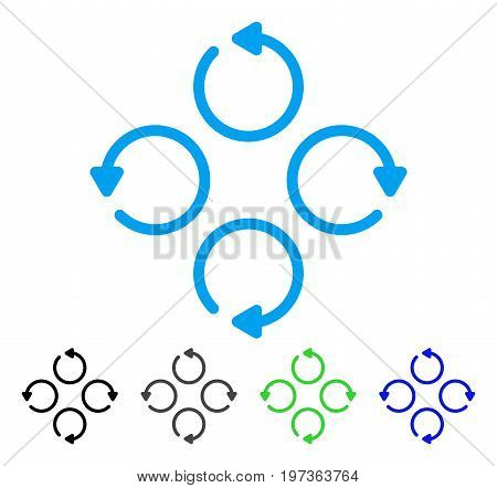 Rotation flat vector pictogram. Colored rotation gray, black, blue, green icon versions. Flat icon style for application design.