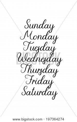 Handwritten days of the week: Monday, Tuesday, Wednesday, Thursday, Friday, Saturday, Sunday. Black ink calligraphy words isolated on white background. Vector Calligraphy.