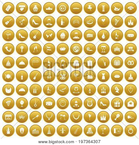100 banquet icons set in gold circle isolated on white vectr illustration
