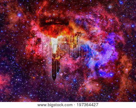 Space shuttle in space. Elements of this Image Furnished by NASA