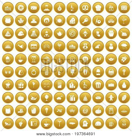 100 bounty icons set in gold circle isolated on white vectr illustration