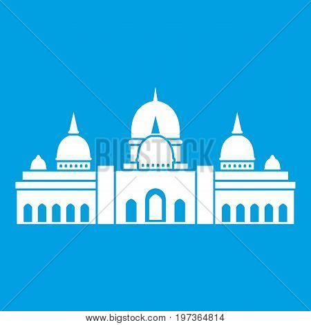 Sheikh Zayed Grand Mosque, UAE icon white isolated on blue background vector illustration