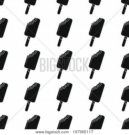 Ice cream in stick seamless pattern vector illustration background. Black silhouette ice cream stylish texture. Repeating ice cream seamless pattern background for food design and web