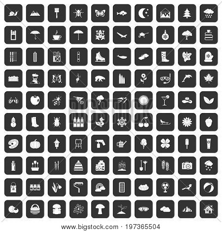 100 landscape icons set in black color isolated vector illustration