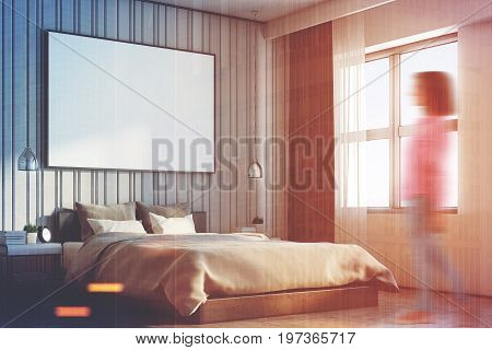 Beige Bedroom With A Large Poster, Side, Girl