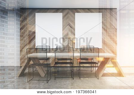 Wooden Wall Cafe Interior, Posters Toned
