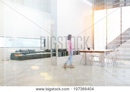 White brick wall living room with a gray sofa and poufs a bookshelf in a white wall. Dining room table a staircase and a panoramic window. Girl. 3d rendering mock up toned image double exposure