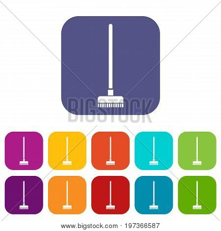 Brush for a floor icons set vector illustration in flat style in colors red, blue, green, and other